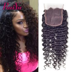"Malaysian Curly Closure Malaysain Virgin Hair Deep Wave Curly Closure 8""-24"" Free/Middle/Three Part 4X4 Swiss Human Hair Closure"