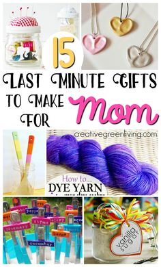 Need an easy DIY gift you can make for mom? There are lots of great ideas for simple, handmade gifts you can make for your mom, adult daughter, aunt or grandma in just one afternoon! Saving this for future mother's day, birthday and Christmas ideas! Diy Birthday Gifts For Mom, Last Minute Birthday Gifts, Homemade Mothers Day Gifts, Diy Gifts For Mom, Mothers Day Gifts From Daughter, Easy Diy Gifts, Presents For Mom, Last Minute Gifts, Grandma Gifts