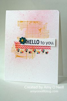 Amy's colorful slightly grungy card features Hello to You Paper Pumpkin stamp, Off the Grid, and Gingham Garden Washi Tape.