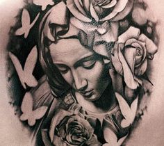 Realistic black and gray Virgin mary tattoo works by Matteo Pasqualin