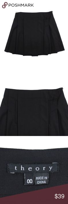 "THEORY Black Tailor Wool Trema Pleated ALine Skirt Size -  00  This black stretch wool ""Trema"" skirt from THEORY is in excellent condition. It features an A Line style with pleated detail. Made of 96% wool and 4% lycra. Style is called Trema. Fabric is called Tailor. Wool blend.  Measures: Waist: 25"" Hips: 35"" Total Length: 16"" Theory Skirts A-Line or Full"