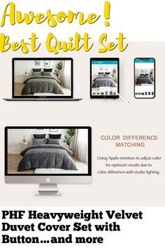 (This is an affiliate pin) PHF Heavyweight Velvet Duvet Cover Set with Button Closure, 4 Corner Ties, Soft, Warm, Solid and Luxurious Bedding, 3 Pieces, King (106' x 92'), Dark Grey Velvet Duvet, Quilt Sets, Luxury Bedding, Duvet Cover Sets, Dark Grey, 3 Piece, Ties, Corner, Buttons