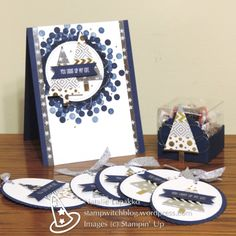 Homemade card, tags, and treat box with washi tape and the Tree Builder Punch from Stampin' Up! Design by Natalie Lapakko.