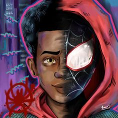 My girlfriend found some of my love for spiderman this weekend after seeing Into the Spiderverse and was inspired to draw Miles//Spiderman.