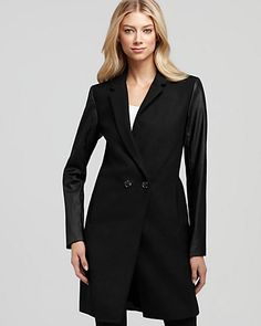 Aqua Solid Faux Leather Sleeve Coat | Bloomingdale's