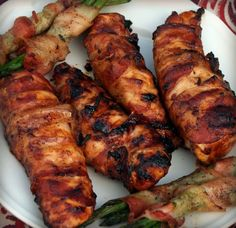 Bacon wrapped BBQ chicken right off the grill. It was so good and juicy.