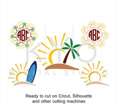 Tropical SVG, Surf SVG, Surfboard svg, Palm tree svg, Island svg, Sun svg, Monogram svg, tropical island svg files for Cricut Silhouette by kYoDigitalStudio on Etsy