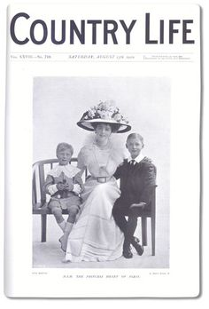 Fuerstin Daisy with her eldest sons, Hans Heinrich and Alexander on the cover of England's Country Life magazine. Daisy returned to England often, and enjoyed social celebrity there. JC