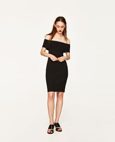 Image 1 of DRESS WITH BARDOT NECKLINE from Zara