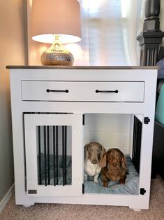 View the features available for our custom dog crate furniture. Customize a stylish kennel with the storage, feet, stain, and more that will complement your home. Cheap Dog Kennels, Wooden Dog Kennels, B & B, Custom Dog Beds, Custom Dog Kennel, Diy Dog Crate, Wooden Dog Crate, Dog Crate Furniture, Dog Cages
