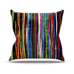 Kess InHouse Frederic LevyHadida Fancy Stripes Indoor/Outdoor Throw Pillow