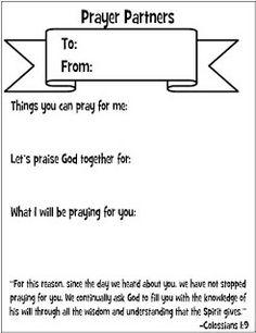 Prayer Partner Cards for kids