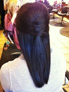 half up half down cool criss cross...  This but with curls instead of straight