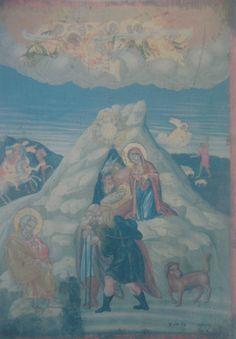 Η Γέννηση του Χριστού. Μικρή εικόνα στη πρόθεση της Μονής Φανερωμένης. (1774 δια χειρός Αθανασίου).