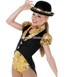 MBQ405 Child gold sequin black satin lycrial jazz dance costumes