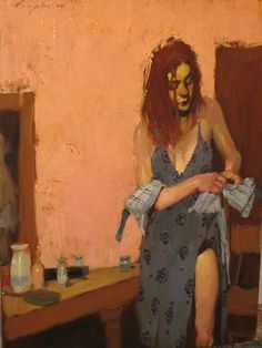 malcolm liepke woman changing oil on canvas 23 x 18