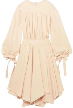 Chloé | Cream Cady Gathered Mid-Length Short Casual Dress Size 8 (M)