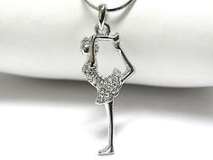 NEW DevinE White Gold Plated Crystal Charm BALLERINA Ballet Dancer  Necklace UK