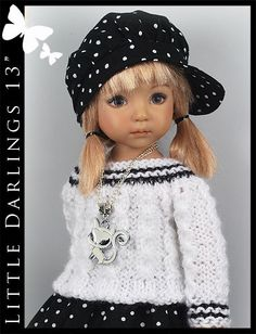 "OOAK Black & White Outfit for Little Darlings Effner 13"" by Maggie & Kate Create"