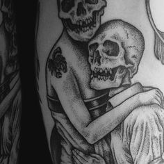 Details of the Skelton Lovers tattoo. Made in London by Mister Paterson