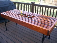 Cedar Outdoor Table With Built In Wine U0026 Beer Cooler With Pipe Legs.