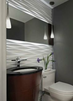 Love the white tile! contemporary powder room by Xstyles Bath + More Love the white tile! contemporary powder room by Xstyles Bath + Downstairs Bathroom, Bathroom Renos, Accent Wall In Bathroom, Washroom Tiles, Bathroom Feature Wall, Tile Accent Wall, Accent Walls, Bathroom Faucets, Master Bathroom