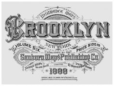 SANBORN CITY MAP GRAPHIC. BROOKLYN. BEAUTIFUL FLOURISHES AND ELEMENTS.