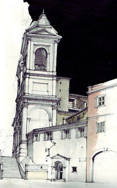Piazza di Spagna,    pencil drawing with water colour and chinese ink