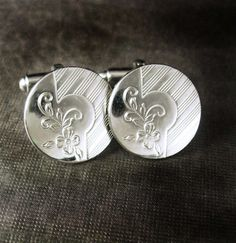 Floral Tuxedo silver Cufflinks Vintage by NeatstuffAntiques