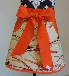 Cream with Orange/Brown Birds with Orange Pockets and by LizzysBiz, $24.00