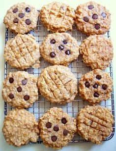 Breakfast cookies. High protein, no flour or processed sugar..(Ingredients: bananas, peanut butter, applesauce, vanilla, quick oatmeal, nuts, optional chocolate chips) Great for mid-morning/afternoon snacks too!