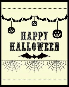FREE printable Happy Halloween decoration wall art @ Blissful Roots