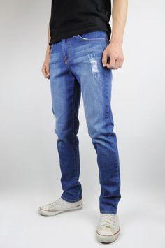 Made In The Usa Denim Distressed Skinny Jeans Men's Blue Denim Ripped Stretch