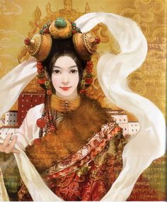 There are 56 ethnic groups in China that have been specifically recognized by the government. In this series, Taiwanese artist Chen Shu Fen (陈淑芬) has painted stunning portraits of women from each one in their traditional dress. This one here is of a Tibetan woman.