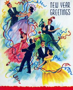 New Year Greetings - Vintage Card
