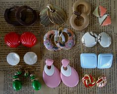 Vintage 90's Earring Lot 12 pairs Clip On cloisonne enamel plastic wood metal geometric dangle $18