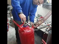 Refilling fire extinguisher 50kg dry powder - YouTube
