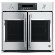 GE 30 in. Single Electric French-Door Wall Oven Self-Cleaning with Convection Wall in Stainless Steel (Silver)