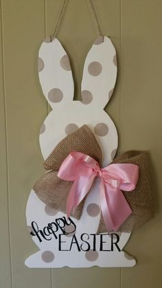 Handpainted white polka dot easter bunny door hanger