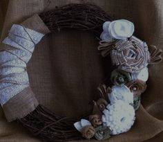 18 inch, handmade, burlap and lace wreath