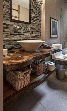 90 Brilliant Farmhouse Bathroom Vanity Remodel Ideas - carlotta news Rustic Bathroom Designs, Rustic Bathroom Vanities, Modern Farmhouse Bathroom, Rustic Bathrooms, Wood Bathroom, Small Bathroom, Bathroom Ideas, Rustic Farmhouse, Budget Bathroom