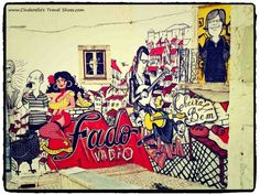 Fado on the wall in the street of Lisbon