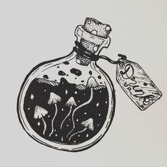 #alice #aliceinwonderland #draw #drinkup #mushroom Trippy Drawings, Easy Drawings, Mushroom Art, Mushroom Drawing, Bottle Drawing, Bottle Tattoo, Kawaii Tattoo, Trippy Painting, Witch Art