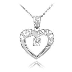 925 Sterling Silver Quinceanera 15 Anos Solitaire CZ Pendant Necklace 18 -- Click image to review more details.