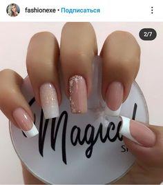 French Nail Designs, Nail Art Designs, Cute Acrylic Nails, Cute Nails, Glow Nails, Silver Nails, Pretty Nail Art, Dream Nails, Nail Decorations