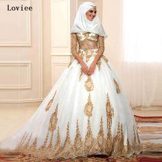 Роскошные золотые кружева аппликация 3/4 рукав кот арабский дубай свадебные платья с хиджаб 2016 турецкий свадебное платье Vestido де Noivaze 4 купить на AliExpress