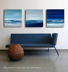 "Triptych - Original abstract landscape oil paintings on canvas, dark blue, gray, white - 3 x 15,7"" x 15,7"""