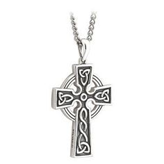 Double-Sided Celtic Cross First Communion Sterling Silver Pendant Necklace
