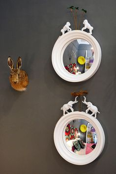 Mirrors to hack with plastic critters - ignore the poor rabbit to the left!
