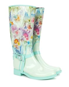 Printed wellington boot - Green | Shoes | Ted Baker